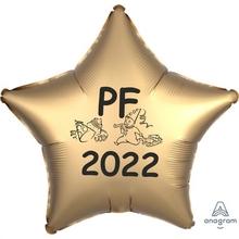 Silvestrovská dekorace - balónek fóliový PF 2021 zlatá hvězda