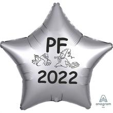 Balónek fóliový PF 2021 stříbrná hvězda