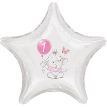 1.narozeniny růžový slon hvězda foliový balónek