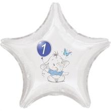 1.narozeniny modrý slon hvězda foliový balónek