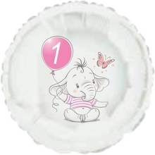 1.narozeniny růžový slon kruh foliový balónek