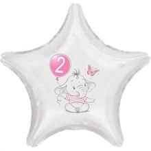 2.narozeniny růžový slon hvězda foliový balónek