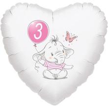 3.narozeniny růžový slon srdce foliový balónek