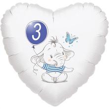 3.narozeniny modrý slon srdce foliový balónek