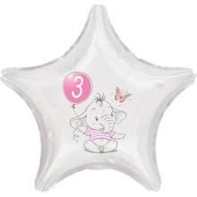 3.narozeniny růžový slon hvězda foliový balónek