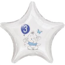 3.narozeniny modrý slon hvězda foliový balónek