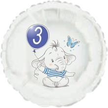 3.narozeniny modrý slon kruh foliový balónek