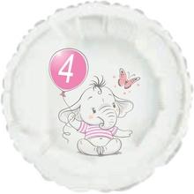 4.narozeniny růžový slon kruh foliový balónek