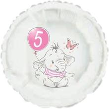 5.narozeniny růžový slon kruh foliový balónek