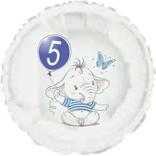 5.narozeniny modrý slon kruh foliový balónek