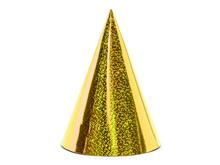 Čepičky zlaté holografické 6 ks 17 cm