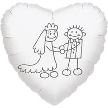 Svatební balónek fóliový srdíčko panačči