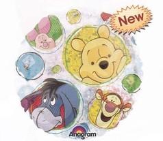 Medvídek Pú foliový balonek 45cm průhledný,holografický