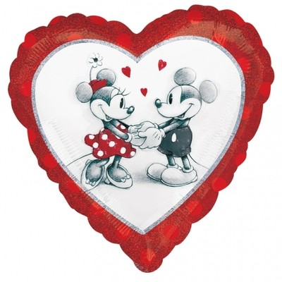 Mickey & Minnie holografický foliový balónek srdíčko 45cm