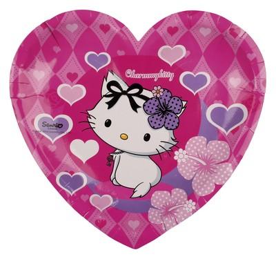 Kitty talíře 6ks ve tvaru srdce 20,5cm