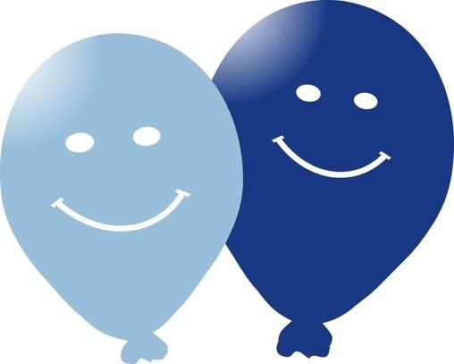 Balonky s potiskem smajlik 5ks modré