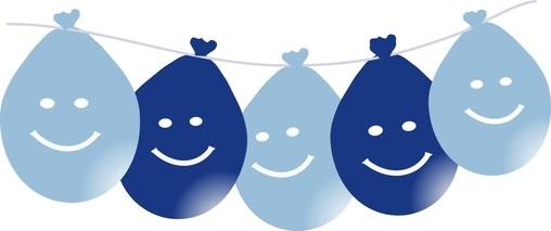 Balonky smajlík visící 5ks mix modré