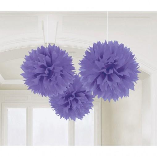 Závěsné dekorace fialové 3 ks 40 cm