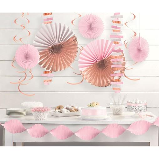Závěsné dekorace růžovo-zlaté set 14 ks