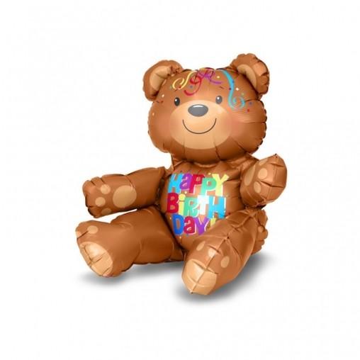 Foliový balónek medvídek šťastné narozeniny 43cm x 48cm