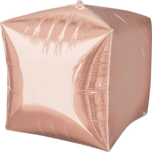 Foliový balónek kostka růžovo-zlatý 38 cm