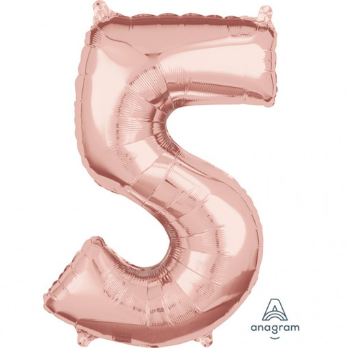 Balónek fóliový narozeniny číslo 5 růžovo-zlaté 66cm