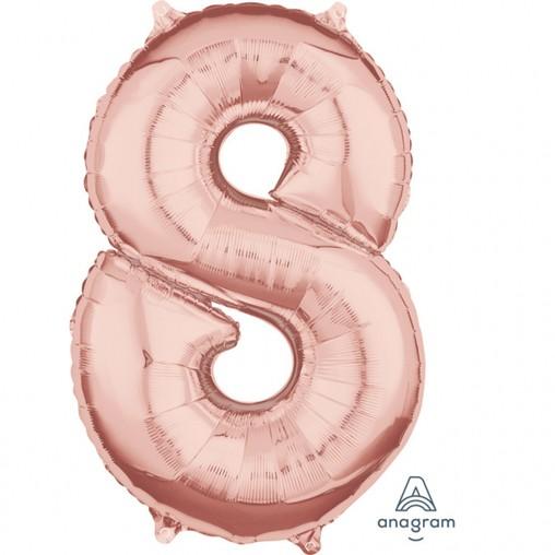 Balónek fóliový narozeniny číslo 8 růžovo-zlaté 66cm