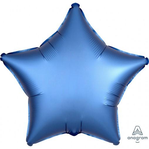 Balónek hvězda foliová satén modrá