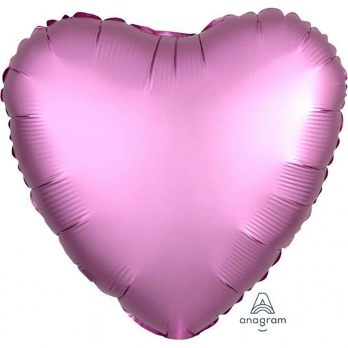 Balónek srdce foliové satén růžové