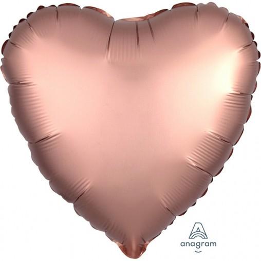 Balónek srdce foliové satén Copper