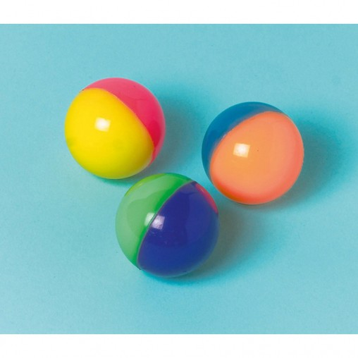 Skákací míč hopskulka 2-barevný neon 3,5 cm 12 ks mix