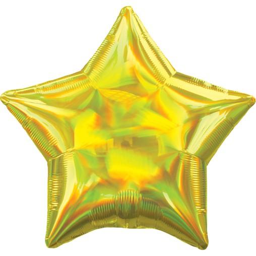 Balónek hvězda holografická žlutá