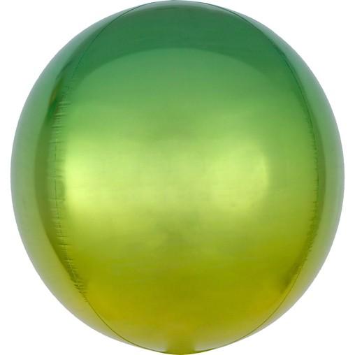 Foliový balónek koule žluto-zelená 38 cm