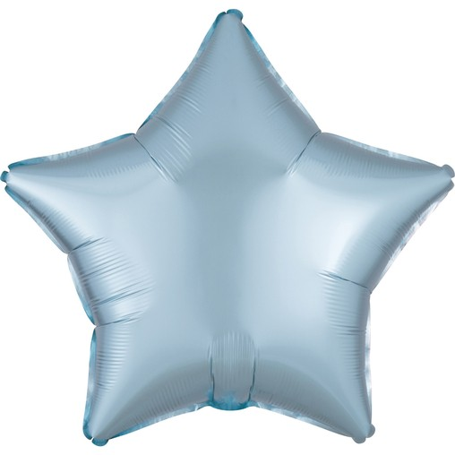 Balónek hvězda foliová satén světle modrá