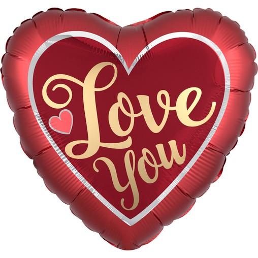 Love You balónek srdíčko saten 42 cm
