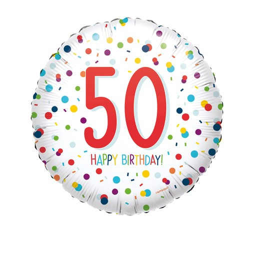50. narozeniny balónek konfety 43 cm