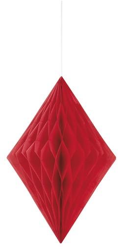 Závěsná dekorace diamant 35cm červená