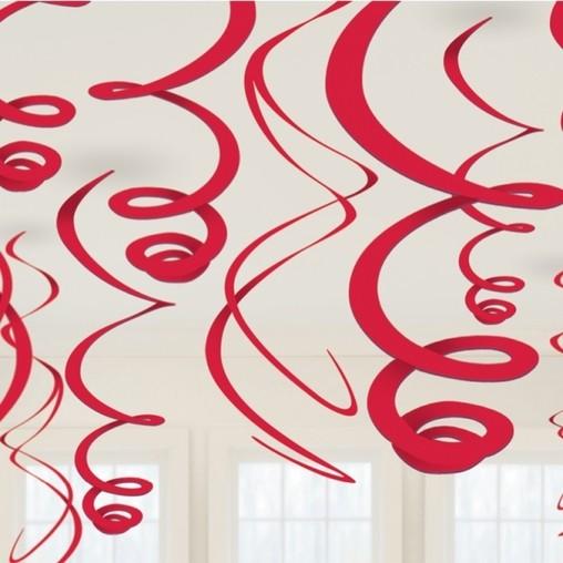 Závěsná dekorace červená 12ks 55,8cm