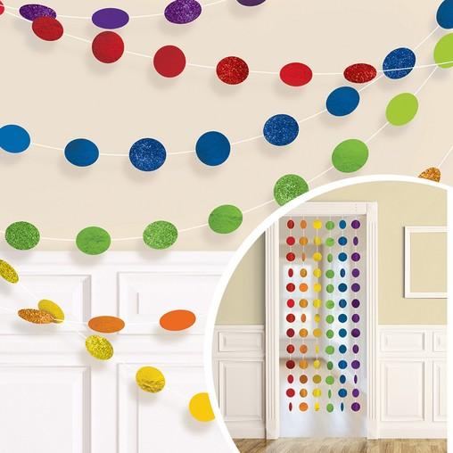 Závěsná dekorace barevná s glitry 6 ks, 213 cm