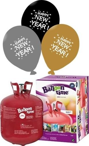 Helium Balloon time, Happy New Year balónky Metallic mix 25ks