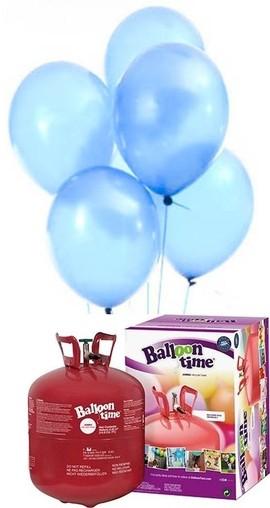 Helium Balloon time + balónky světle modré 50ks