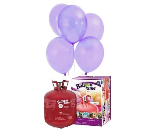 Helium Balloon time + balónky světle fialové 50ks