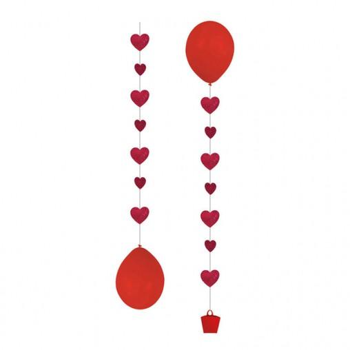 Stuha na balónky srdíčka 1m 3ks
