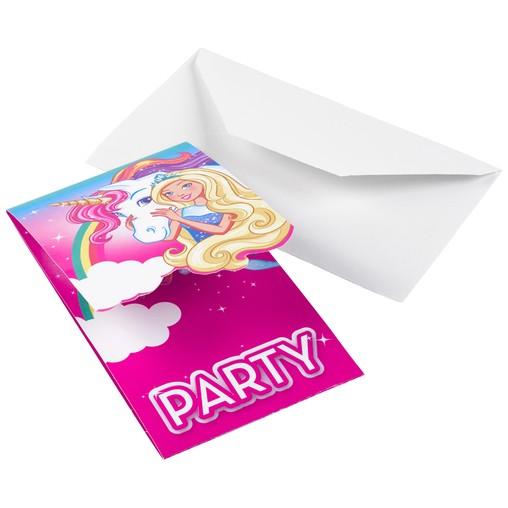 Barbie pozvánky na party 8 ks