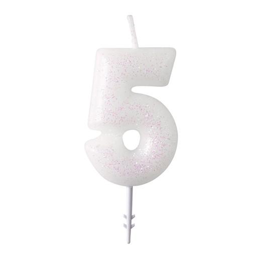 Dortová svíčka číslo 5 bílá s glitry