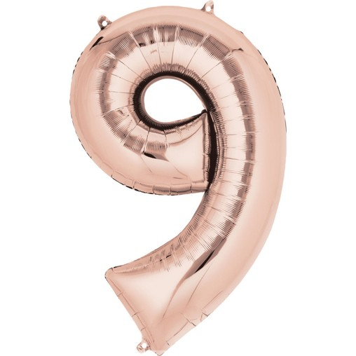 Balónek fóliový narozeniny číslo 9 růžovo-zlaté 86cm