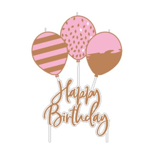 Svíčky narozeniny růžovo-zlaté 6,2 cm x 11,3 cm