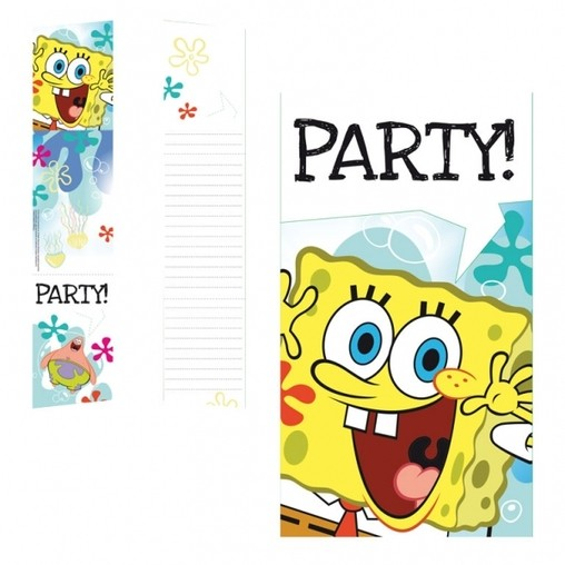 SpongeBob pozvánky na party 6ks