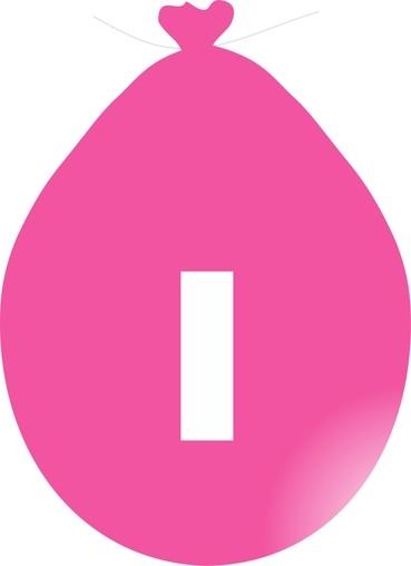 Balónek písmeno I růžové
