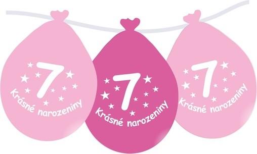 Narozeninové balónky růžové s potiskem 7 visící - 5 ks